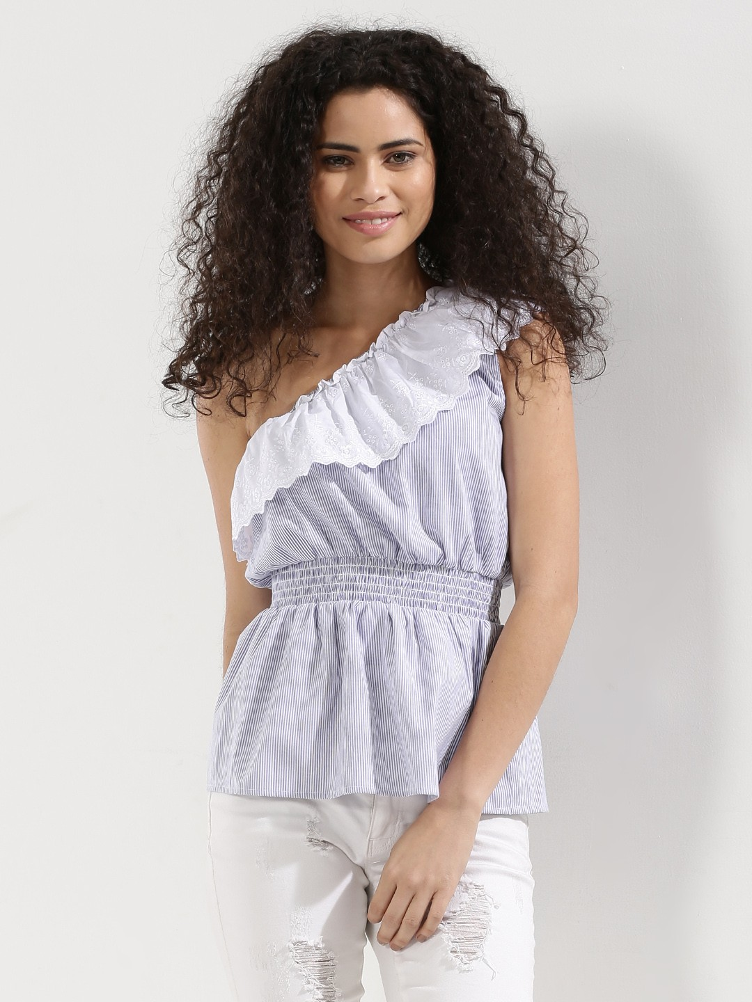 Noble Faith Blue Striped One Shoulder Top With Broderie Lace 1