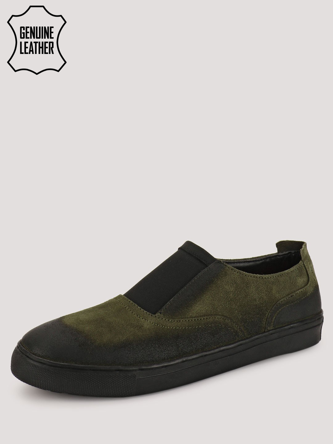Marcello & Ferri Green Slip Ons With Shaded Effect On Upper 1