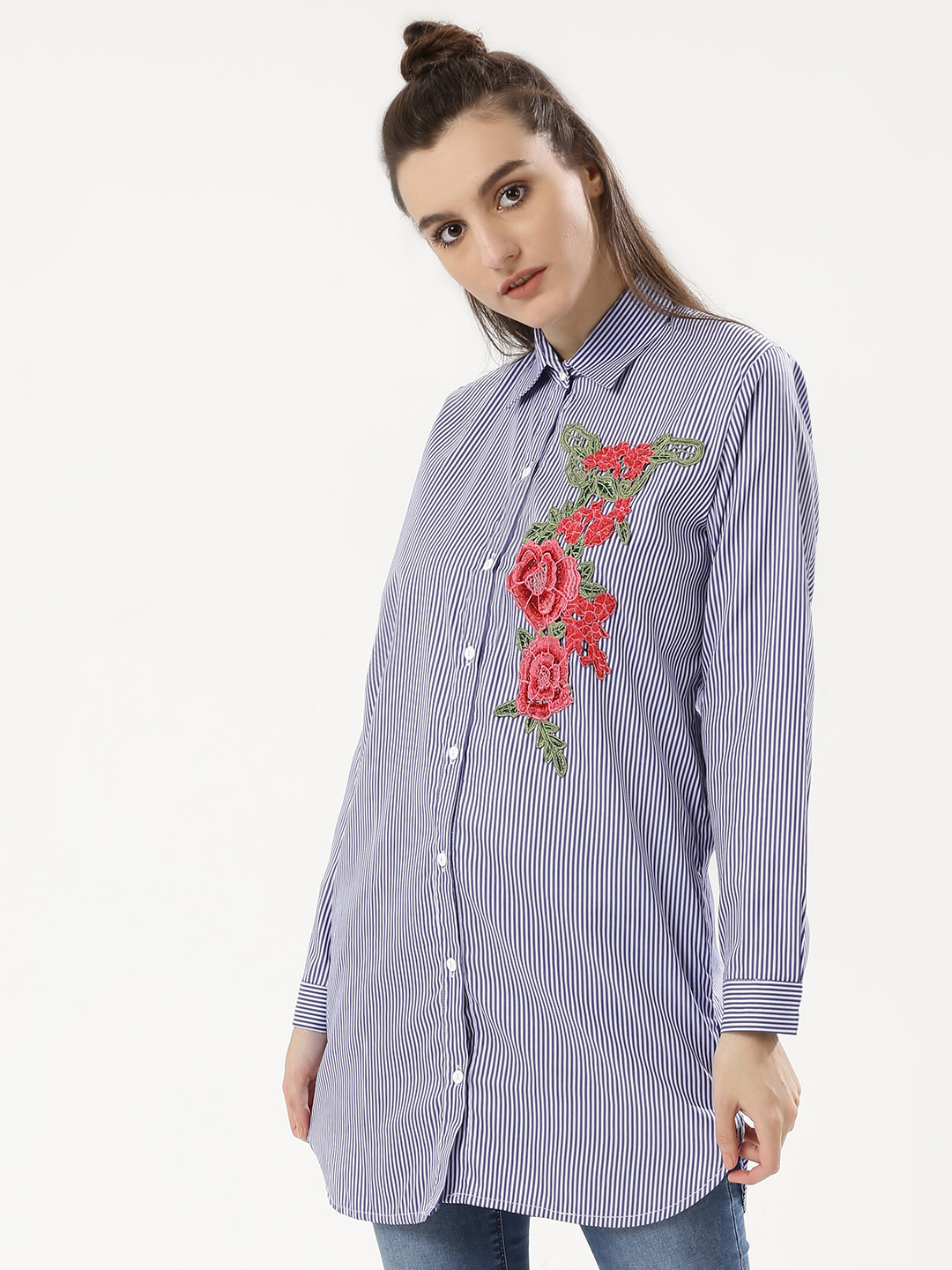 Forever And Ever Blue Floral Embroidered Striped Longline Shirt 1