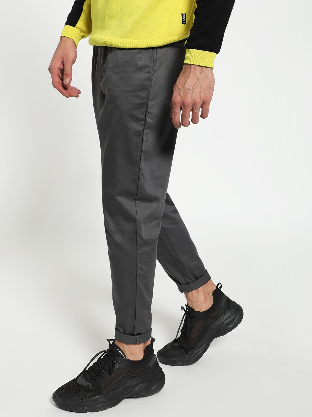 KOOVS Grey Basic Drawcord Slim Trousers 1
