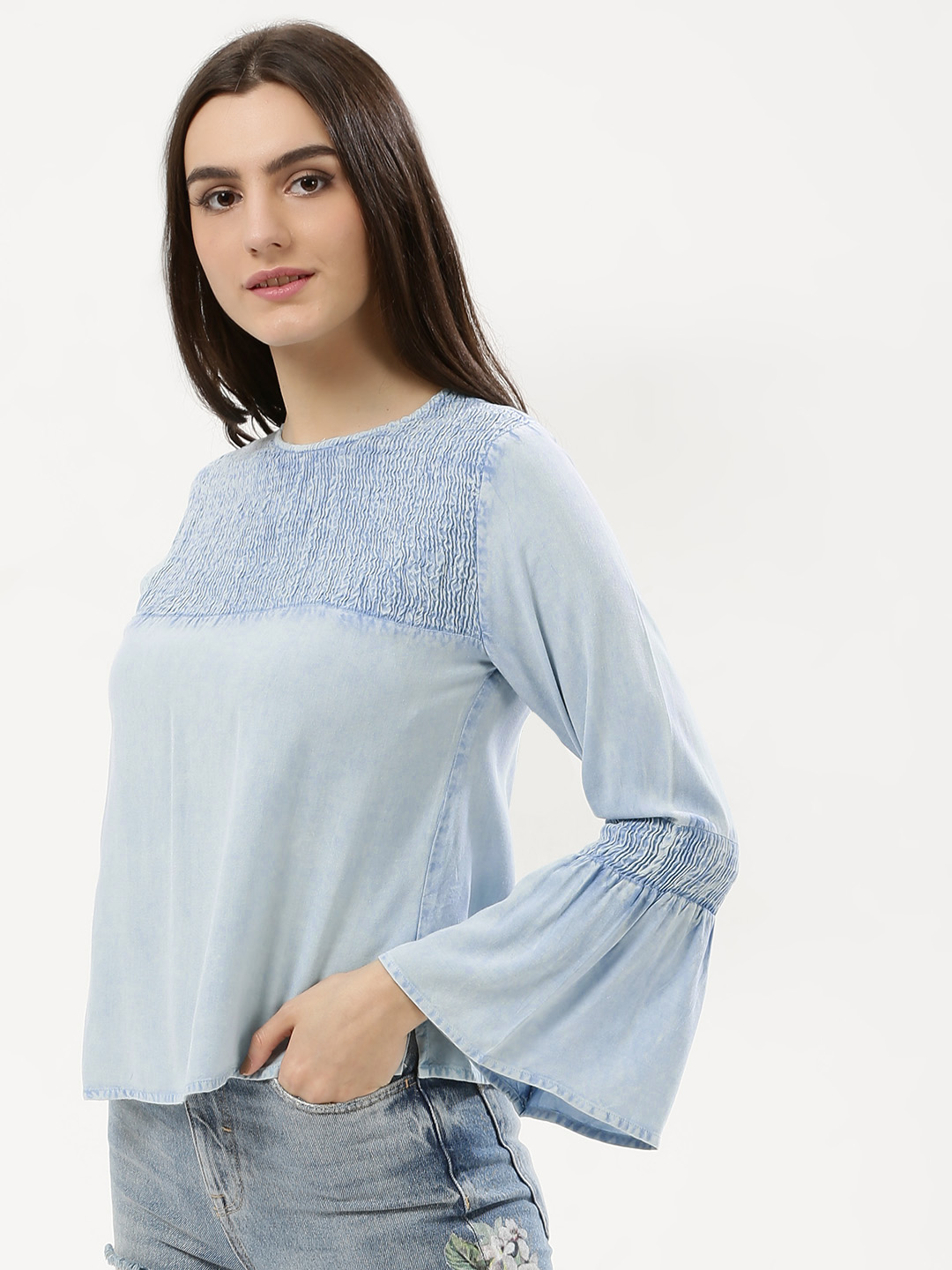Influence Blue Gingham Check Shirred Top 1