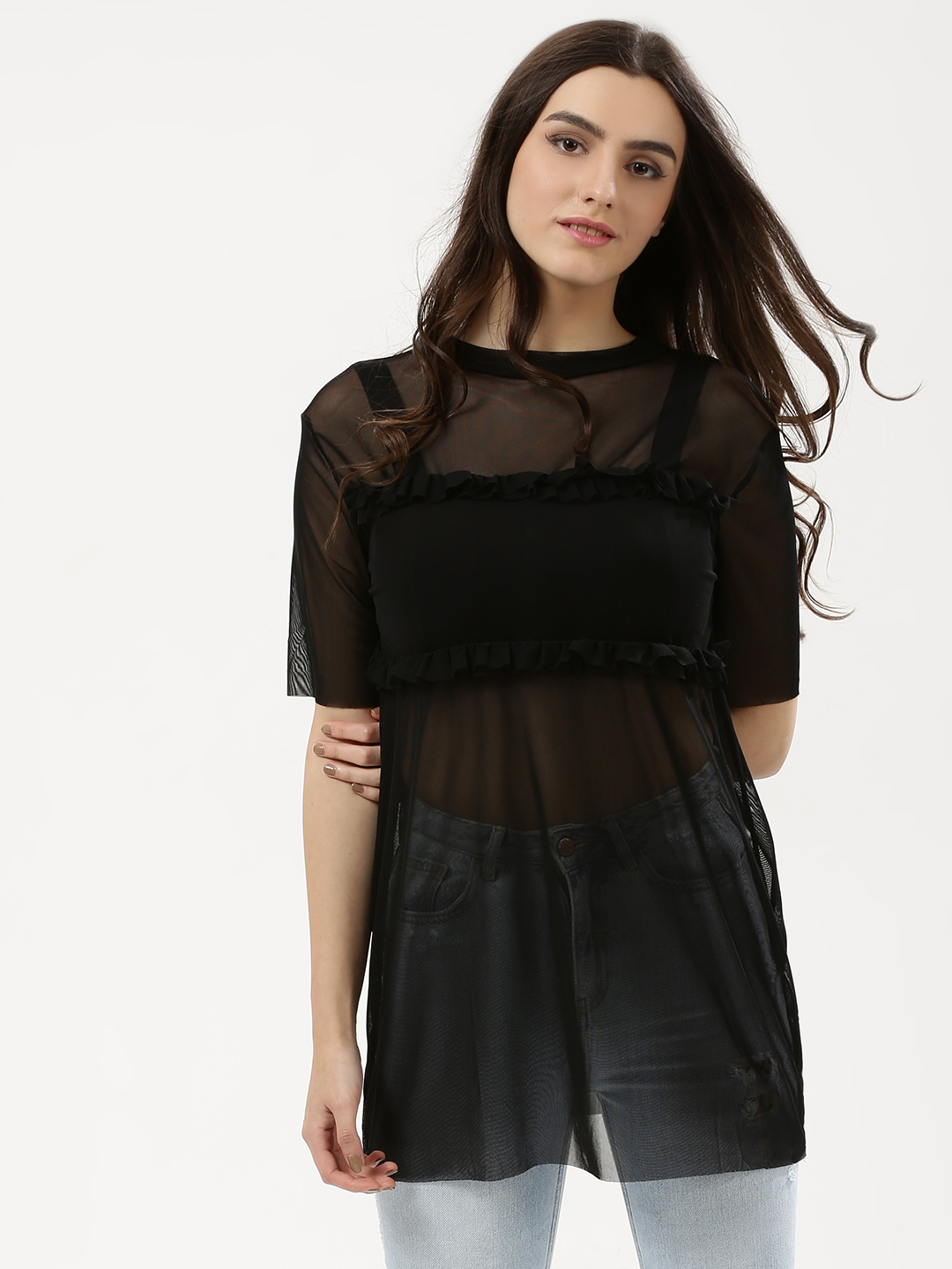 Influence Black Mesh Ruffle T-Shirt 1