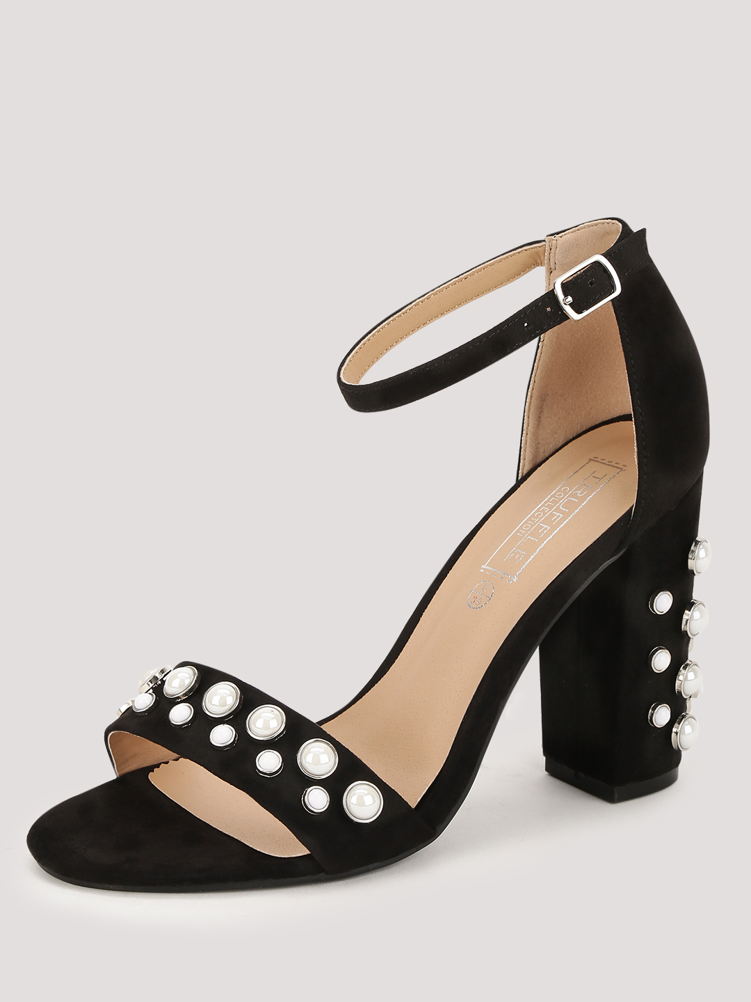 Truffle Collection Black Pearl Embellished Heeled Sandals 1