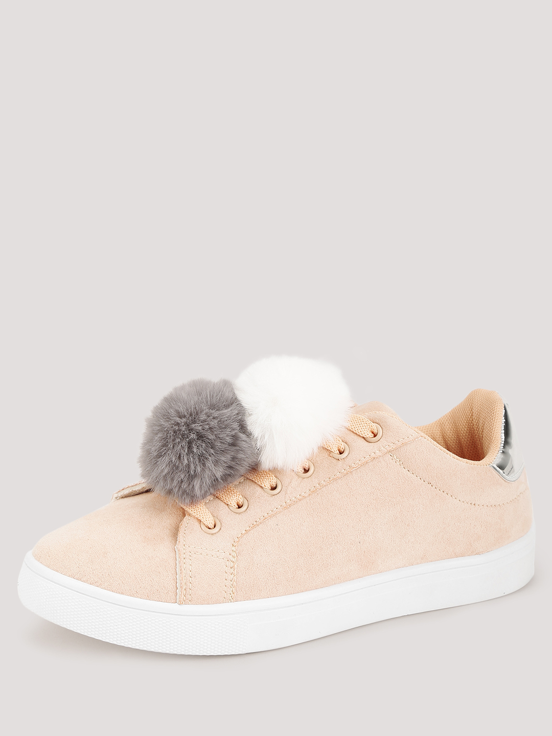 Truffle Collection Nude Pom Pom Detail Trainers 1
