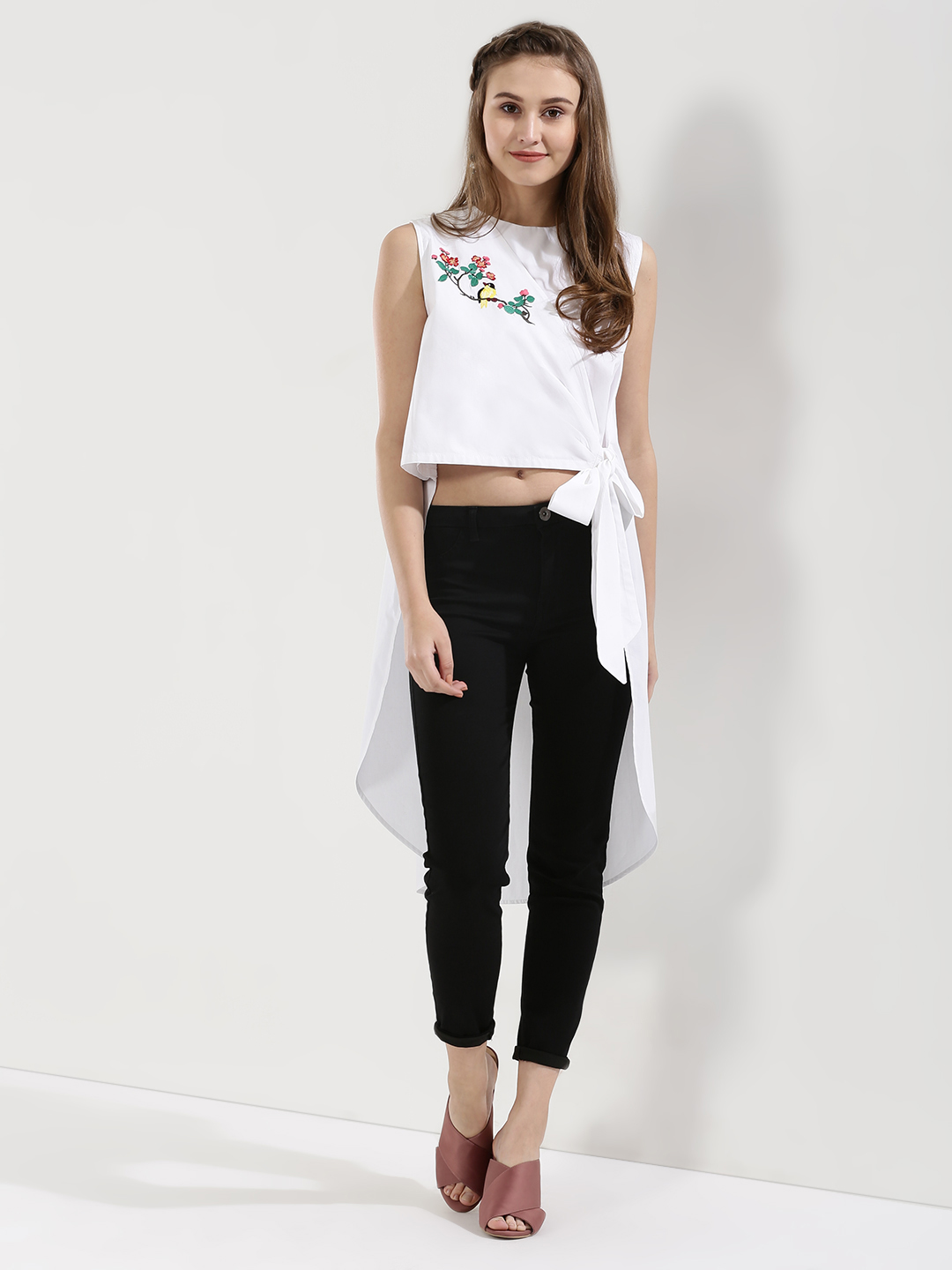 Ri-Dress White High Low Top With Embroidery Detail 1