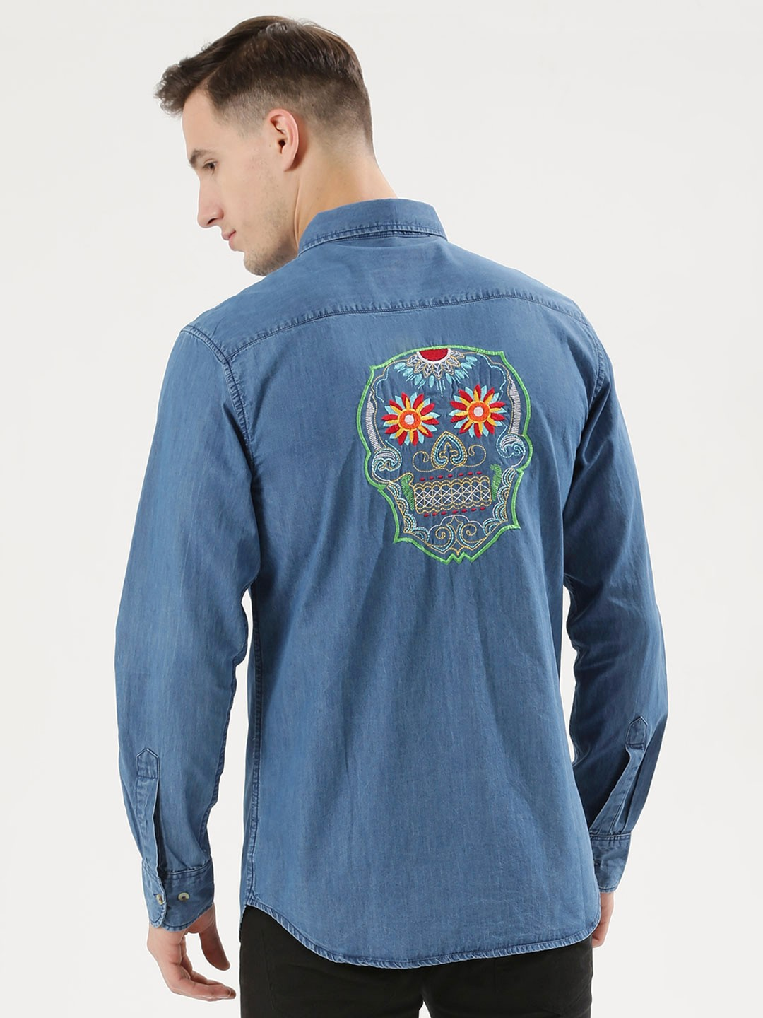 Noble Faith Mid Wash Skull Embroidered Denim Shirt 1