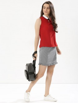KOOVS Gingham Pencil Skirt