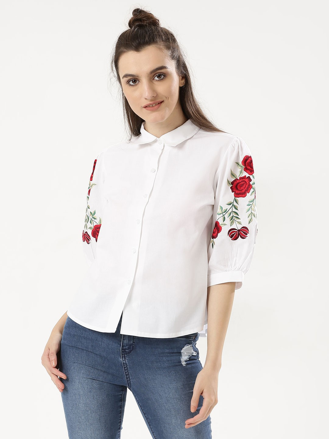 KOOVS White Floral Embroidered Sleeve Shirt 1