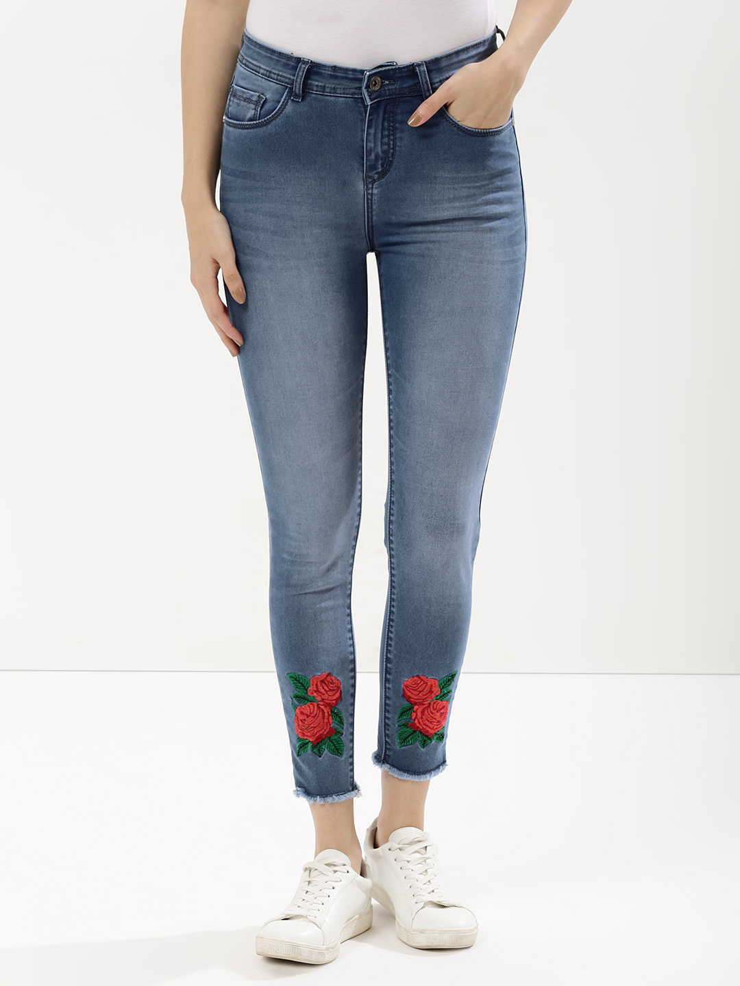 KOOVS Blue Washed Denims With Floral Embroidery 1