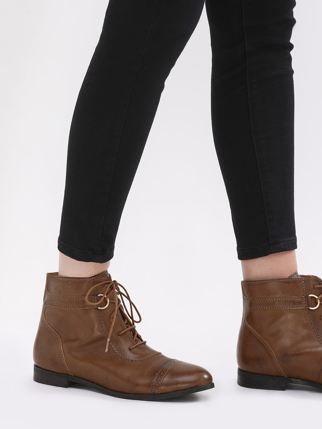 KOOVS Brown D-Ring Detail Brogue Ankle Boots 1
