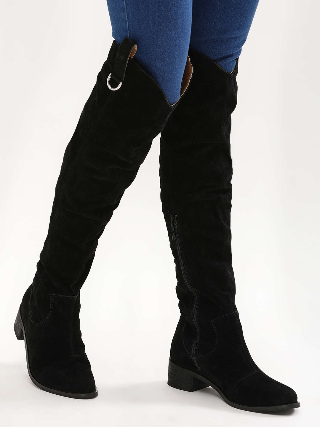 KOOVS Black Over The Knee Cowboy Boots 1