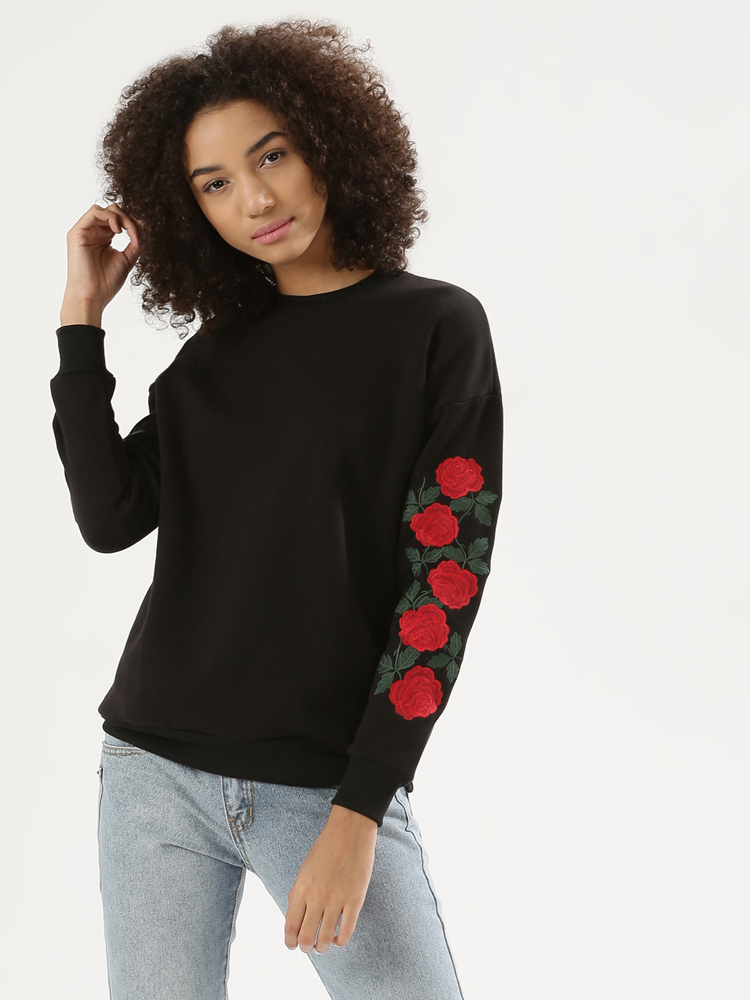 Liquor n Poker Black Rose Embroidered Sweatshirt 1