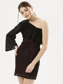 KOOVS Asymmetric One Sleeve Lace Dress