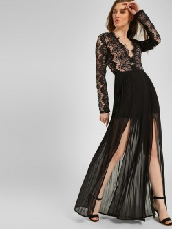 Rare London Double Split Lace Maxi Dress