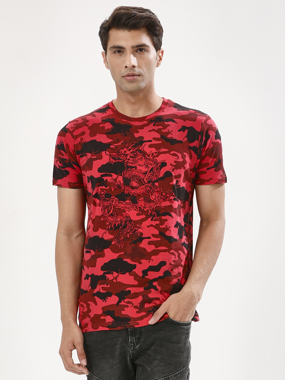 Brave Soul Red Camo Camo T-Shirt With Dragon Embroidery 1
