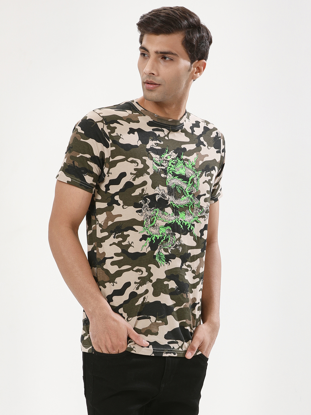 Brave Soul Khaki Camo Camo T-Shirt With Dragon Embroidery 1