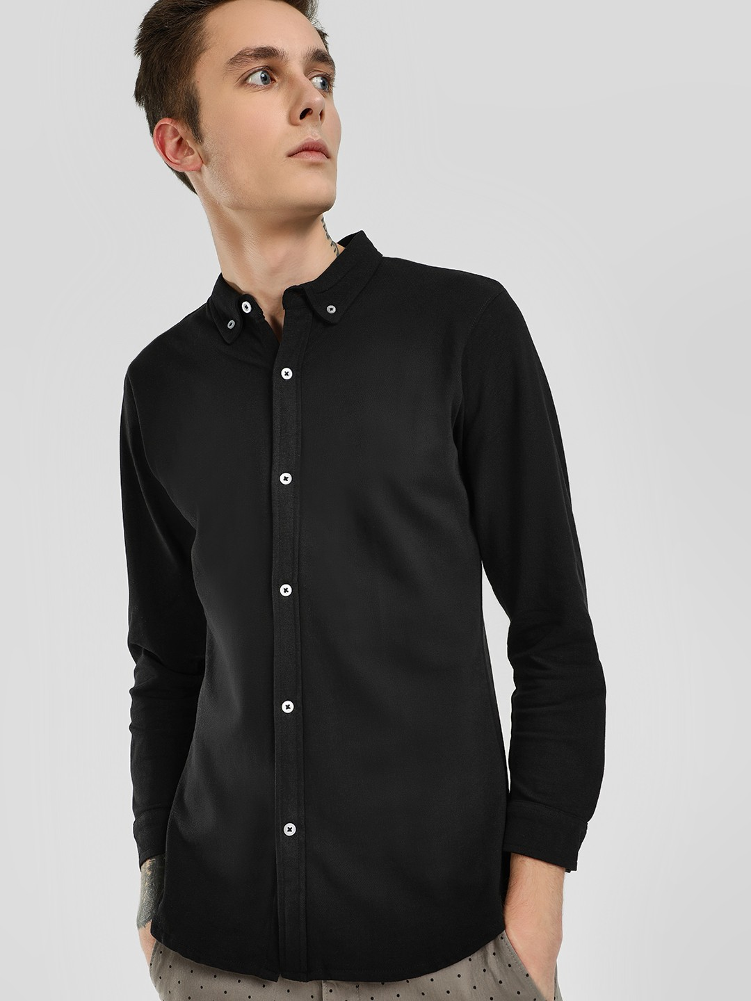 Garcon Black Contrast Button Down Knitted Shirt 1