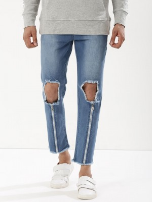 K DENIM Busted Knee Slim Jeans...