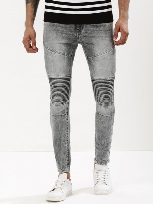 K DENIM Skinny Pintucks Biker ...