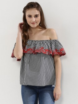 Kisscoast Embroidered Gingham Off Shoulder Top