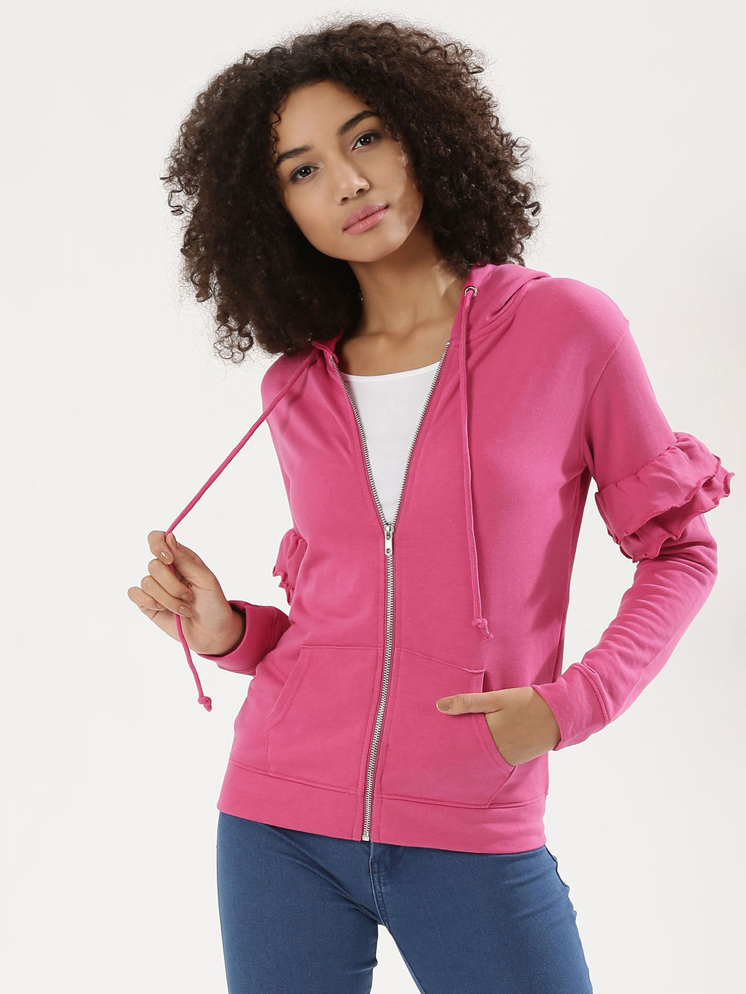Daisy Street FUSCHIA/RED Hoodie With Ruffle Detail On Sleeve 1