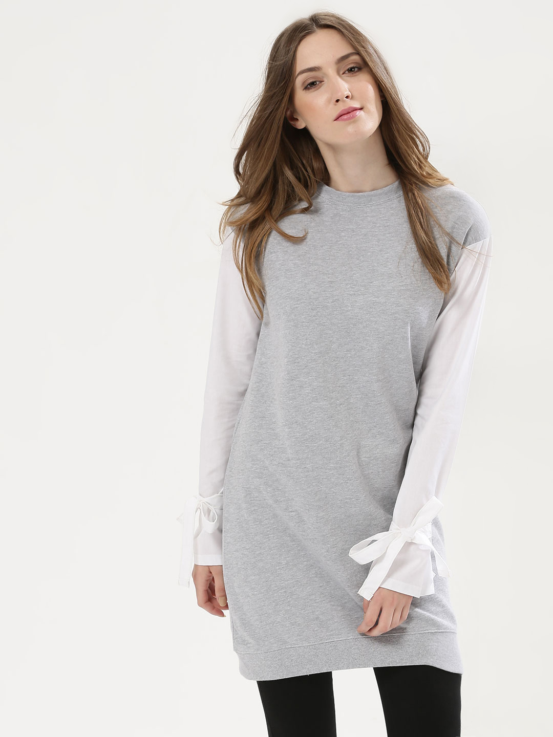 Daisy Street Grey Sweatshirt With Contrast Sleeves And Tie Detail 1