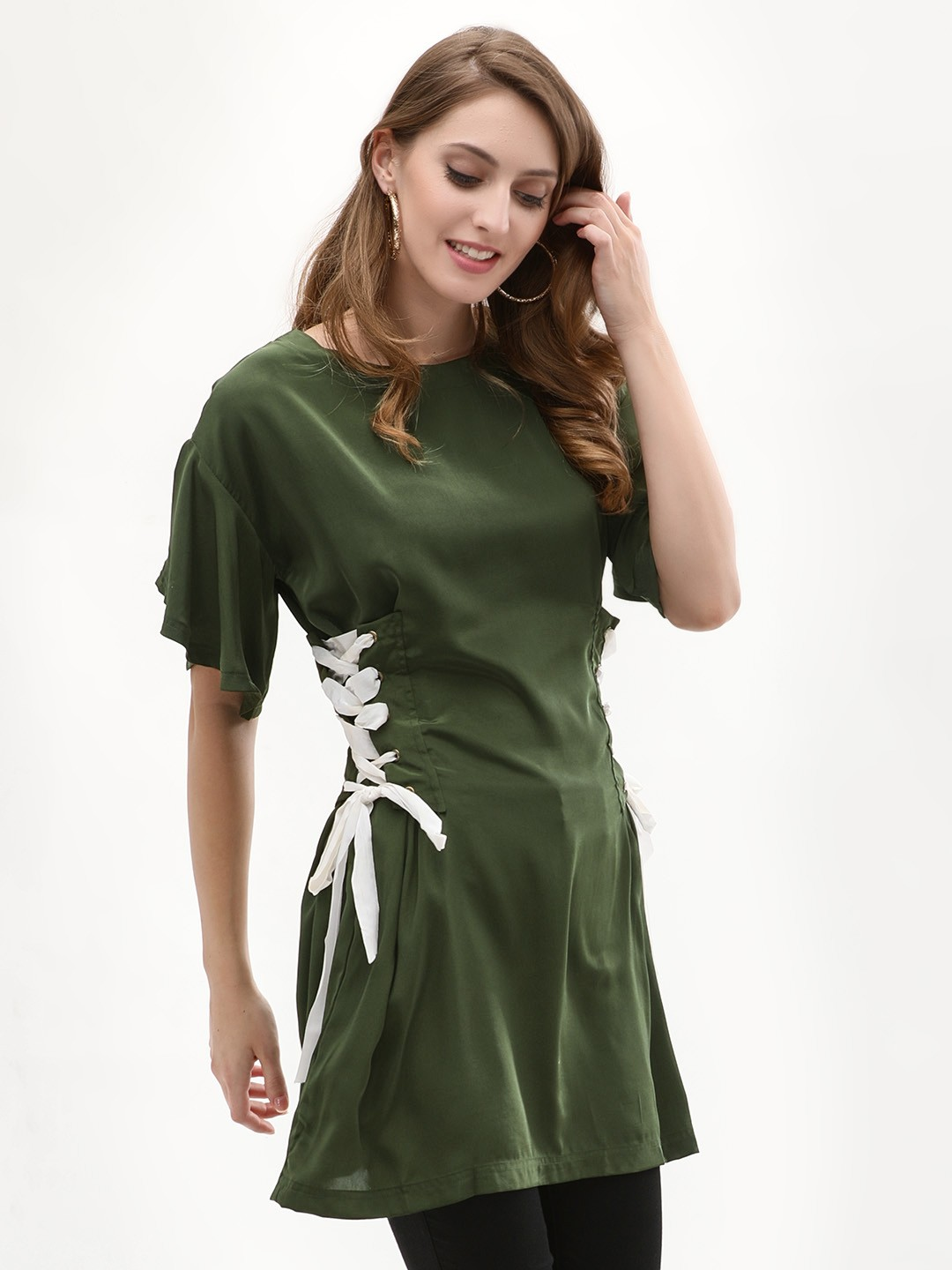 Noble Faith Olive Dress Side Tie Up Fit & Flare Dress 1